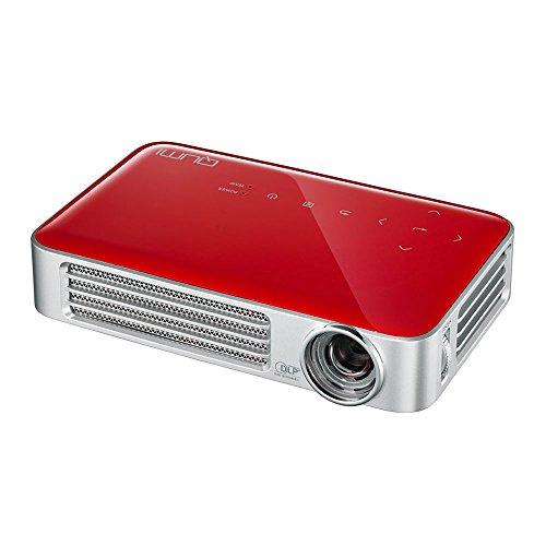 vivitek Qumi Q6, kompakter LED-Projektor im Taschenformat, 800 Lumen, Wireless, 1280x800 Pixel, Beamer mit 2.5GB interner Speicher, HDMI und USB Eingang, rot