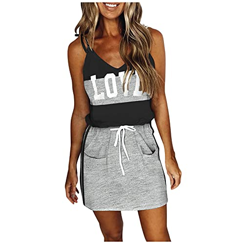 OPAKY Vestido sin mangas para mujer, cuello en V, informal, con bolsillos, con cordón gris S