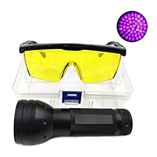 Nikauto UV Flashlight Black Light 51 LED Flashlight and UV Protective Glasses Goggles detector tool for Detecting pet Cat Dog Urine Repairing car Checking money 24