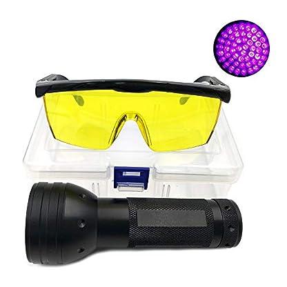 Nikauto UV Flashlight Black Light 51 LED Flashlight and UV Protective Glasses Goggles detector tool for Detecting pet Cat Dog Urine Repairing car Checking money 1