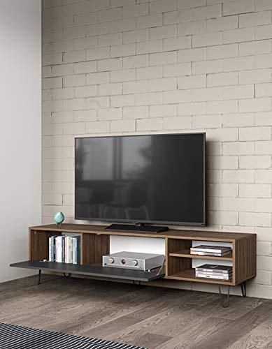 Temahome Elektra A4 Mobile TV, Holz veredelt, Edelstahl, nussholz, 43.5 x 165 x 40 cm