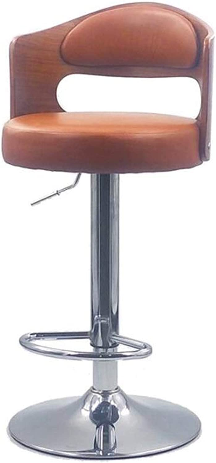 AGLZWY Bar Stools High Chair Multipurpose Metal Adjustable Swivel Gas Lift Extra Large Base Backrest Footrest Breakfast Bar Dining Counter Home Kitchen (color   Brown, Size   40X26X80CM)
