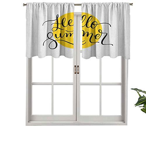 Hiiiman Cenefa de cortina con bolsillo para barra de alta calidad, diseño abstracto, estilo retro, con letras negras en todo un redondo, juego de 2, 137 x 60 cm para decoración de interiores