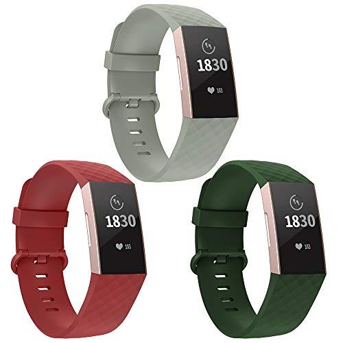 Adepoy für Fitbit Charge 3 Armband, Verstellbarer klassischer Sport Ersatzarmband Kompatibel mit Fitbit Charge 3/ Charge 3 SE, Damen Herren (3er Pack,Armee-grün/Hellgrau/Rot, Klein)