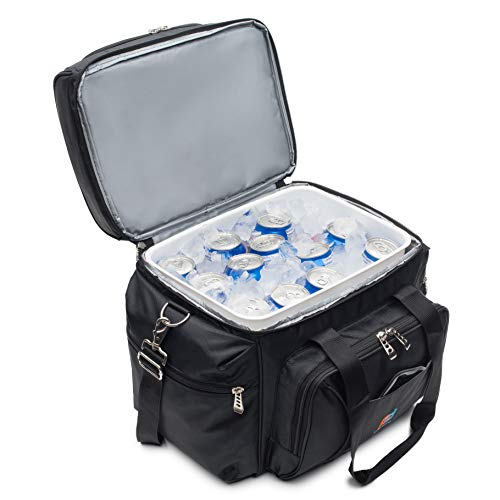 MOJECTO Large Cooler Bag with Leakproof Hard Shell Liner Bucket. Two Insulated Compartments, Heavy Duty 1680D Fabric, Thick Foam Insulation, Reinforced Stiches, Durable Zipper, Metal Clips, Hardliner