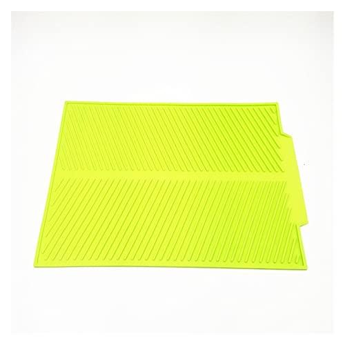 YEZIB Plato Cuadrado de Silicona Alfombra de Secado, Drenaje Resistente al Calor Lavabo de vajilla Durable Almohadilla de Cojín Duradero Mesa de Mesa Mat (Color : Green, Size : Large)