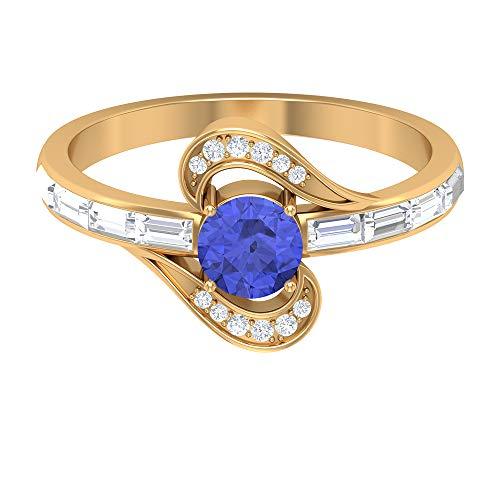 Rosec Jewels 14 quilates oro amarillo redonda baguette Blue Tanzanita creada en laboratorio Diamond