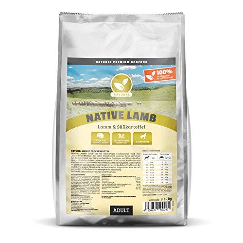 Natural | Native Lamb | 15 kg | Lamm + Süßkartoffel | getreidefreies Hundefutter | Trockenfutter für alle Hunderassen | viel frisches Fleisch | artgerecht & besonders gut verträglich