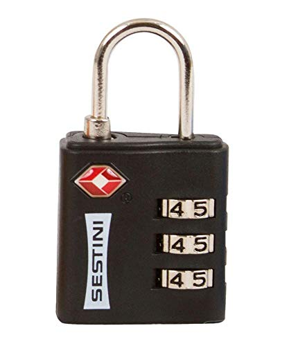 Cadeado para Bagagem TSA c/ Combinacao, Sestini, Adulto Unissex, Preto
