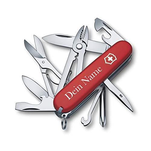 Victorinox Taschenmesser Deluxe Tinker mit Wunsch Druck auf der Schale I Geschenk für Männer Frauen I zum Geburtstag I Schweizer Taschenmesser personalisiert mit 17 Funktionen 1.4723