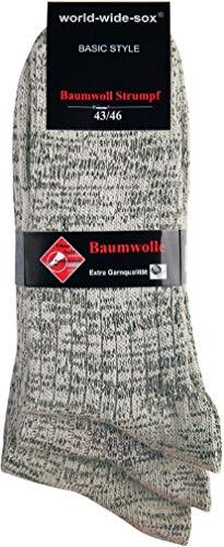 world wide sox | Socken & Strümpfe für Herren | Flammgarn Extra Qualität | 3 Paar | natur-schwarz-blau Akzenten | 39-42