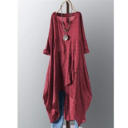 AOWU Vestido de encaje vintage de algodón a cuadros asimétrico maxi vestido con hombros descubiertos (tamaño: mediano; color: burdeos)