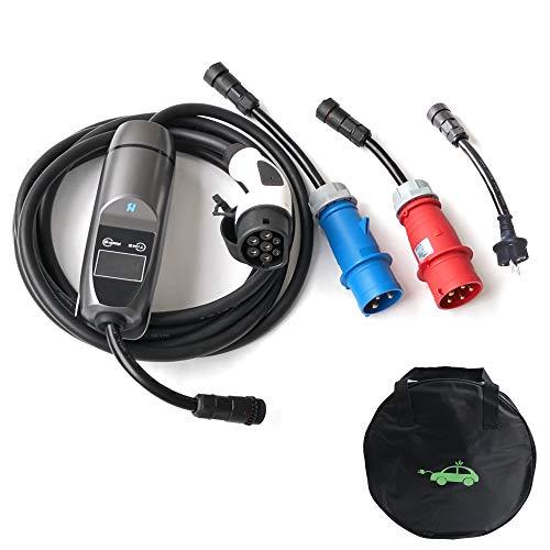 K.H.O.N.S. EVSE Ladegerät Typ 2 für Elektroauto 32A 7.4KW 3 Adapter für Elektroautos Typ 2 (Mennekes)   CEE, Schoko   8A/12A/16A/20A/26A/32A