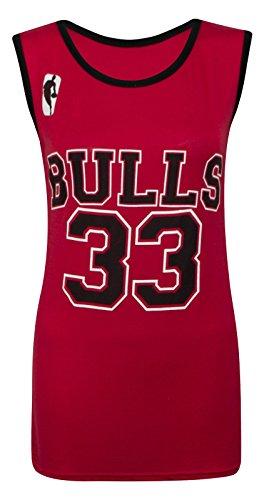Camiseta sin mangas para mujer - Chicago Bulls 33 - Tallas 8-14 multicolor rosso Talla única