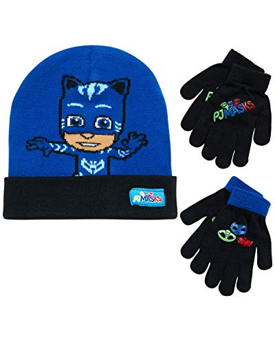 PJ Masks Reversible Hat and 2 Pair Mitten or Glove Cold Weather Set, Toddler Boys, Age 2-4 or Little Boys Age 4-7 (Royal Blue/Black, Little Boys, Ages 4-7)