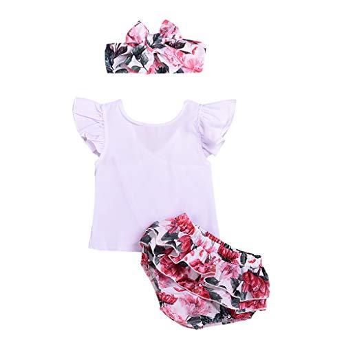 Ropa Bebe Niña Verano Fossen Recién Nacido 0 a 2 Años Camisetas con Volantes de Estampado Floral + Pantalones Cortos + Banda de Pelo