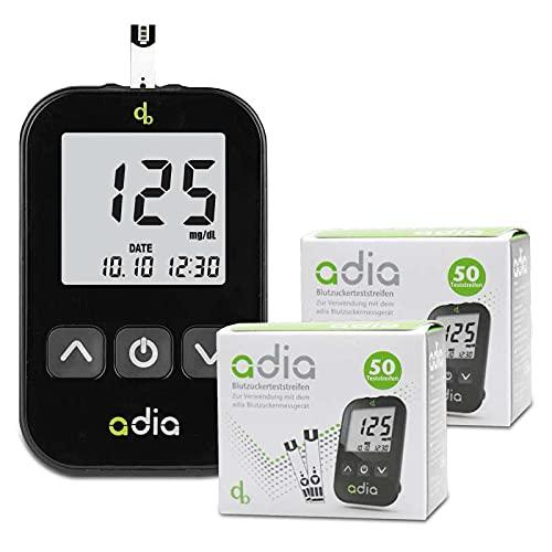 adia Diabetes-Starter-Set inkl. Blutzuckermessgerät (mg) mit 110 Blutzuckerteststreifen, Stechhilfe und Lanzetten – Einfache Selbstkontrolle bei Diabetes