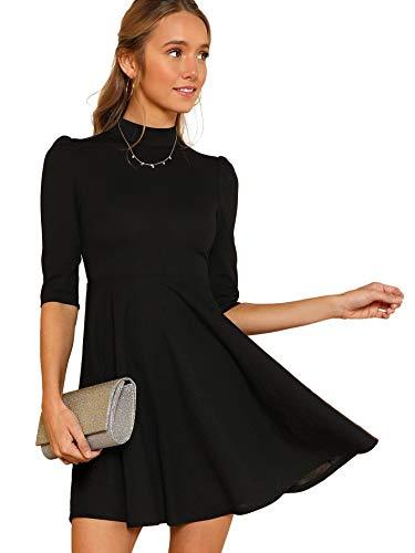 DIDK Damen Kleider Stehkragen Minikleid Partykleid Elegant Langarm Kleid A Linie Hohe Taille Puffärmel mit Reißverschluss Schwarz L