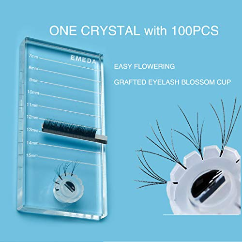 Eyelash Extension Supplies Lash Tray with 100 PCS Blooming Glue Cup Crystal Glass Acrylic Lash Tiles Strip Palett Holder Tools Jade Stone