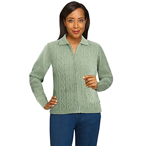 Alfred Dunner Petite Women's Chenille Cardigan Sweater, Sage, PXL