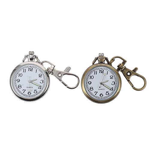 Baluue Clip en Mosquetón Reloj Fob Reloj de Bolsillo de Cuarzo Reloj Médico Colgante para Hombres Mujeres Médicos Enfermeras Paramédicos Suministros para El Día de San Valentín 2 Piezas