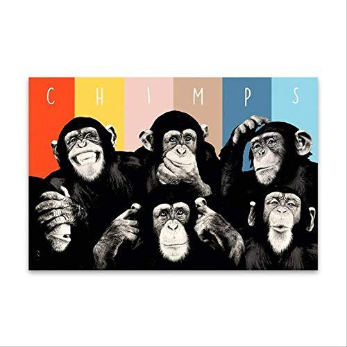Animales Divertidos chimpancés Lienzo Arte Pintura Pared Cuadros decoración del hogar Arte de la Pared 28X42 Pulgadas sin Marco