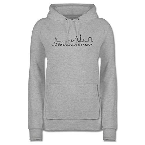 Skyline - Hannover Skyline - M - Grau meliert - Hannover - JH001F - Damen Hoodie und Kapuzenpullover für Frauen