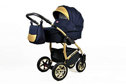 Kinderwagen 3in1 Set Isofix Buggy Babywanne Autositz Gold-Deluxe by SaintBaby Shell 2in1 ohne Babyschale