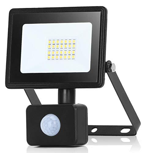 Aigostar Faretto con Sensore di Movimento,20W 1800lumen Faro LED Esterno,Bianco Naturale 4000k,IP65 Impermeabile Faretti LED per Giardino, Cortile,Patio,Garage