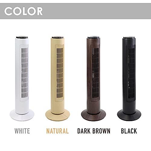iimono117タワー型扇風機タイマー首振りリモコン付き(ブラウンウッド)リビング扇タワーファンスリム扇風機3段階風量省エネ静音換気メーカー保証1年