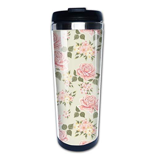 Cavdwa Kaffeebecher mit rosafarbenem Vintage-Rosenmuster, Vektorbild, Edelstahl, isoliert, mit Deckel, Fassungsvermögen: 400 ml