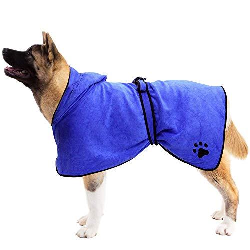 N-brand Albornoz con capucha para perro, toalla de microfibra de 400 g/m², con cinturón, súper absorbente y de secado rápido