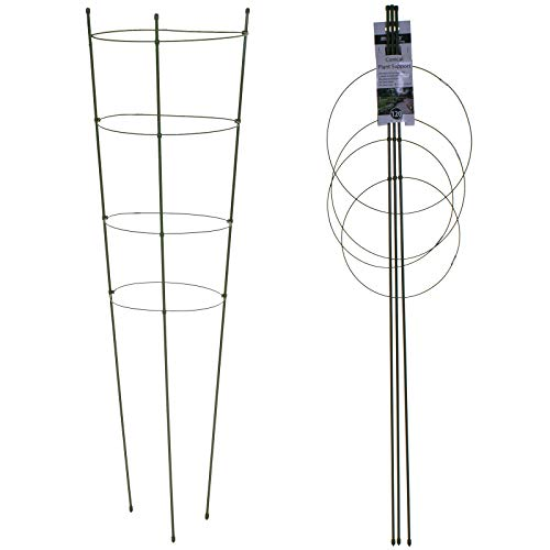 Marko Gardening Conical Plant Supports Cage Frame Metal Circular Border Flower Garden 3 & 4 Ring (120cm 4 Ring)