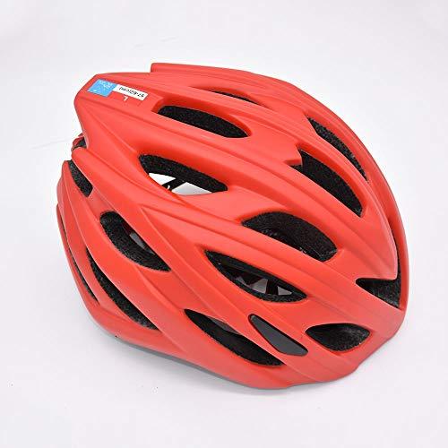 HKRSTSXJ Casco de Ciclista Hombres Mujeres Luz y Transpirable Bicicleta de montaña Casco Ligero de la Pieza única del Casco (Color : Rojo)
