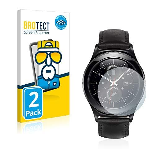 BROTECT Full-Cover Schutzfolie kompatibel mit Samsung Gear S2 Classic (2 Stück) - Full-Screen Bildschirmschutz-Folie, 3D Curved, Kristall-Klar