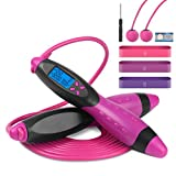 Digital Smart Jump Rope, Belita Amy Adjustable Digital Fitness Jumping Rope with Electronic Time Calorie Counter, Cordless Skipping Rope for Indoor and Outdoor Fitness Exercise, Purple