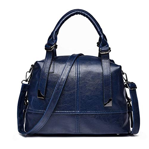 PU soft leather shoulder messenger bag travel shopping handbag Stylish Handbags (Color : Blue)
