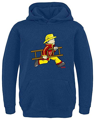 Hariz - Sudadera con capucha para niños, diseño de bomberos azul marino 164 cm