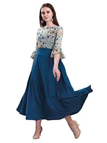 Fashion2wear Women's Poly Crepe Flower Print Long Maxi Dress (Blue,...