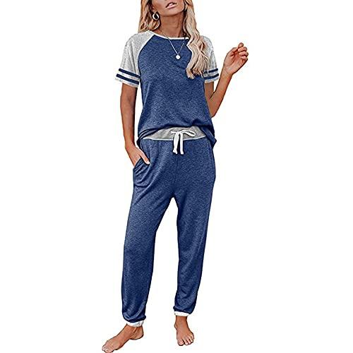 WXDSNH Damen Zweiteiliger Anzug Casual Sport Kurzarm Taschenhose Mit Kontraststreifen Frühling Sommer Zuhause Yoga Fitness