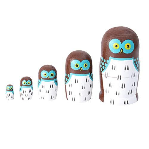 HEALLILY bambole russe nidificazione 5 strati in legno matrioska giocattoli impilabili bambole collezione di bambole giocattolo decorazioni per la casa regalo di compleanno