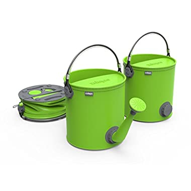 COLOURWAVE Collapsible 2-in-1 Watering Can/Bucket, 7-Liter, Lime Green