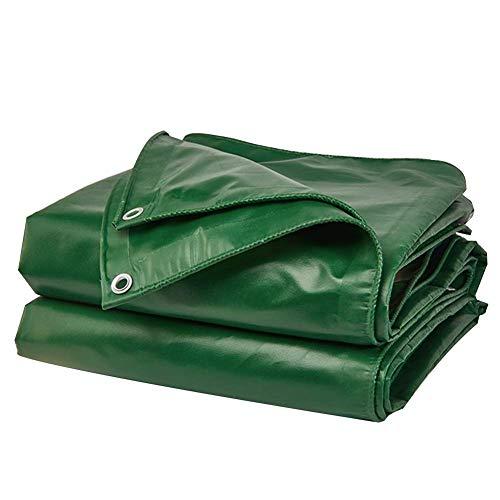 Jonist Tarpaulin Waterproof Heavy Duty Sunscreen Anti-tear Lightweight Outdoor Waterproof Cloth PVC Material Metal Buttonhole, 12 Sizes (Color : Green, Size : 5.8×3.85m)