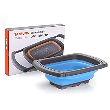 Collapsible Over Sink Colander with Handles, Food-Grade kitchen Strainer, Capacity of 6 quart, Space-Saver Folding Strainer Colander, Dishwasher Safe (blue)