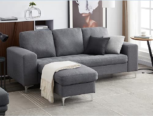 Panana 3 Seater Sofa with Footstool Fabric Grey Sofa Seat Padded Sofa for Living Room Modern Couch Corner Sofa with Reversible Chaise, Chrome Legs (3 Seater with footstool, Gray)