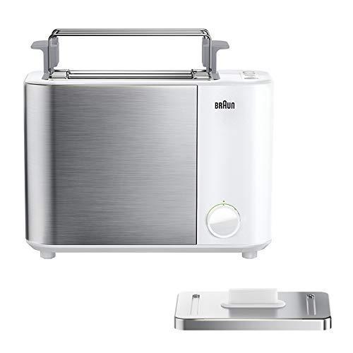 Braun IDCollection Toaster HT5010 WH – mit Doppelschlitz, Bagel-Funktion für einseitiges Toasten, 13 Röstgrade, Auftaufunktion, inkl. Brötchenaufsatz, 1000 W, Weiß / Edelstahl