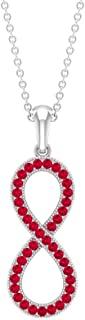 1/4 CT Infinity Necklace for Women with Pave Set Ruby (AAA Quality)