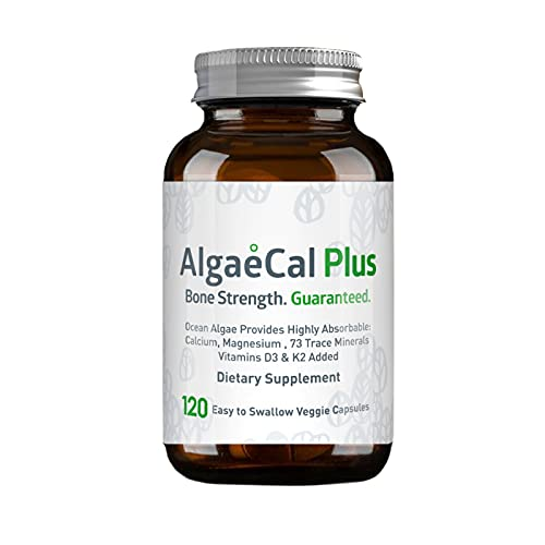AlgaeCal Plus, Natural Calcium Supplement, Derived from Ocean Algae, Includes Magnesium & Boron, with Vitamins C, D, K2, Plant-Based Multivitamin to Build Strong Bones, 120 Gluten-Free Capsules