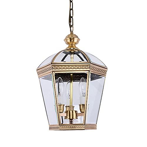 Boilyn Candelabro De Cobre Europeo para Exteriores Dormitorio Sala De Estar Luz Colgante Moderno Simple Comedor Lámpara Colgante Lámpara Colgante De Techo Vintage Accesorios Ajustables En Altura