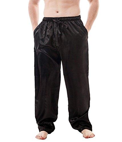 Up2date Fashion Men's Satin Lounge Pants (XL, Black)